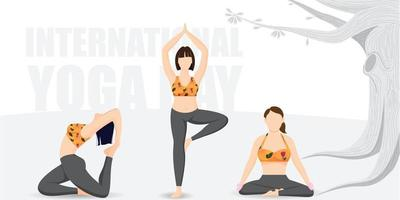 Group of girls practicing yoga on international yoga day vector