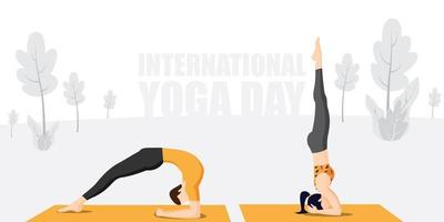 Practicing Yoga on international yoga day vector