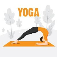 Man doing yoga exercises in the nature vector
