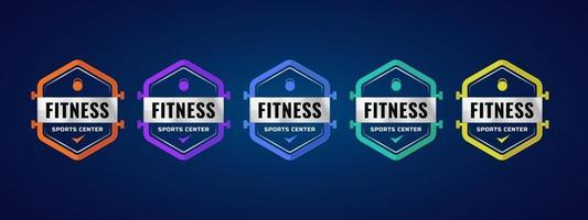 plantilla de insignia de logotipo de centro deportivo de fitness. diseño colorido con elemento deportivo. ilustración vectorial. vector
