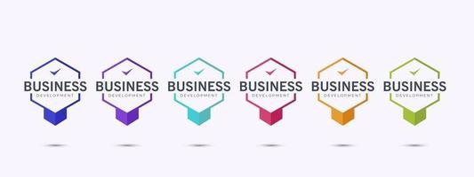 business logo badge design template. Set of bundle colorful certification. vector