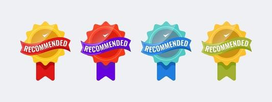 Recommended badge logo template. Recommended seller banner. Vector illustration.