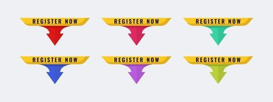 Register now vector shape badge icon. Vector illustration template.