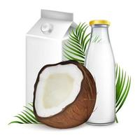 paquete de leche de coco y maqueta de botella. Ilustración realista de vector 3D de leche vegana beneficiosa en botella de vidrio y paquete de papel de cartón