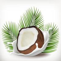 Coconut and milk splash with palm leaves. Realistic illustration. 3d vector icon