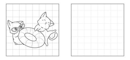 Copy the picture of cats with lifebuoy cartoon vector