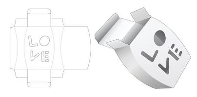 Jar shaped packaging with love word shaped window die cut template vector