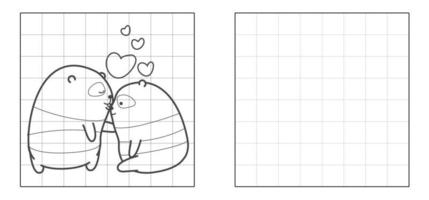 Copy the picture of panda couple in love cartoon vector