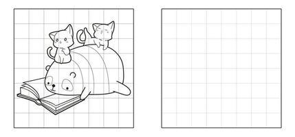 copia la imagen del panda y los gatos están leyendo un libro de dibujos animados vector