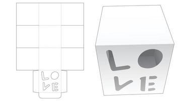 caja de pastel de taza con plantilla troquelada de ventana en forma de palabra de amor vector