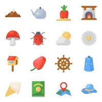 Seasons and Different Elements icon set vector