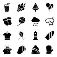 Travel and seasons icon set vector