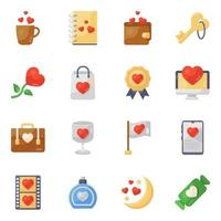 Online Dating and Valentines icon set vector