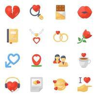 Valentine Day Accessories icon set vector