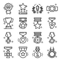 Achievement Medals and Certificates icon set vector