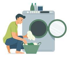 hombre lava la ropa con lavadora. vector