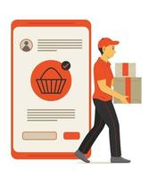 Staff Man Delivers the Box of Parcel from Online Shopping on Mobile Phone. vector