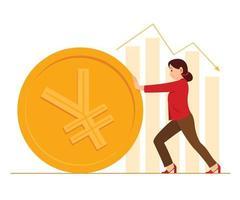 mujer trabajadora empuja una gran moneda de yuan chino y gráficos de barras en el fondo. vector