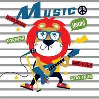 music festival, lion the guitarist cute cartoon, vector illustration