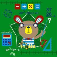rabbit the math teacher cute cartoon, vector illustration