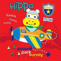 pilot hippo cute cartoon, vector illustration