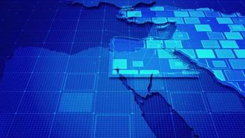 rectángulos digitales en un mapa de oriente medio video