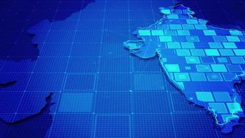 rectángulos digitales en un mapa de la india video