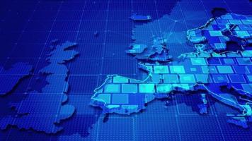 rectángulos digitales en un mapa de europa video
