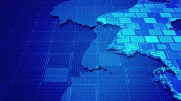 rectángulos digitales en un mapa de corea video