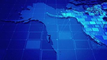 rectángulos digitales en un mapa de américa del norte video