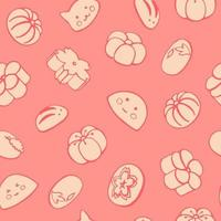 Seamless pattern with  Japanese desserts, sweets, mochi, wagashi. Hand drawn vector illustration in sketch style. Perfect for greetings, invitations, manufacture wrapping paper, textile and web design.