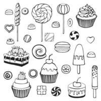 Conjunto de elementos de doodle de dulces dibujados a mano. ilustración vectorial sobre un fondo blanco. vector