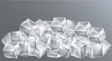Realistic set of cold solid ice cubes. EPS 10 Vector