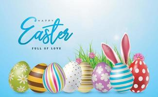 Easter eggs. Lined up with different colors and patterns. Vector EPS 10