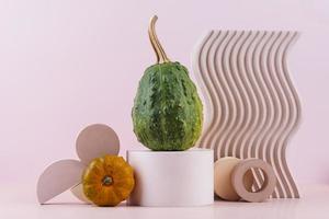 calabazas con estilo de comida moderna fondo rosa foto