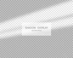 efecto de superposición de sombras. sombras naturales de la ventana aislada sobre fondo transparente. ilustración vectorial. vector