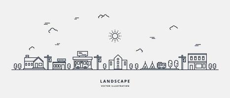 Vector landscape with houses, building, tree, sky. Suburban landscape. Flat line art design vector.