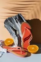 Oranges with flip flops photo