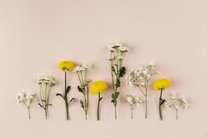 Flat lay flowers on table photo