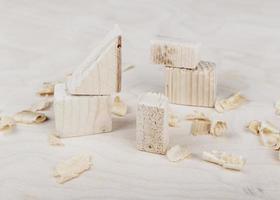 Wood blocks on desk