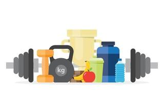 Illustration sport fitness healthy lifestyle in flat style. vector