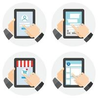 People using tablet computer for different purposes. Flat style. Vector illustrations.