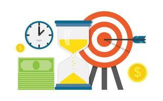 planificación y sincronización del trabajo empresarial, estrategia, concepto de diseño plano con objetivo y flecha vector