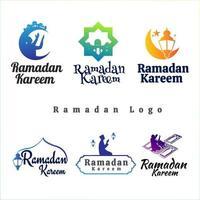 Set of Ramadan kareem logos vector