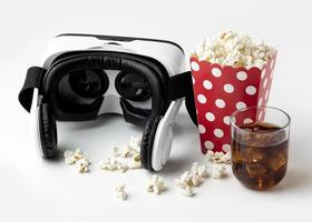 Top view virtual reality headset and popcorn photo