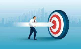 Businessman aims with huge arrow. achievement goal. Aim in business concept vector