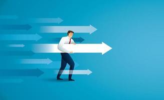 Businessman aims with huge arrow. vector illustration
