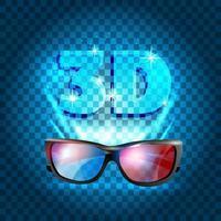 3D cinema poster design. Vector template banner.