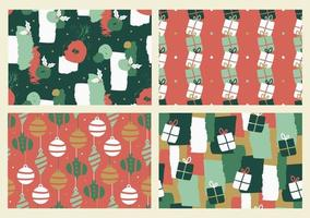 Set of abstract Christmas seamless patterns. vector