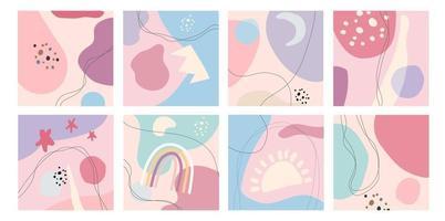 gran conjunto de ocho fondos abstractos y colores pastel. dibujado a mano varias formas y objetos de doodle. ilustraciones vectoriales. vector